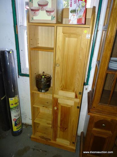 (GARAGE) CABINET; UNFINISHED PINE CABINET WITH 2 PANELED DOORS AND 3 ADJUSTABLE SHELVES- GREAT PIECE