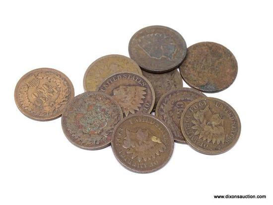 10 ASSORTED INDIAN CENTS.