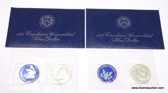 (2) 1973-S 40% UNCIRCULATED IKE SILVER DOLLARS.