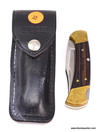 "BUCK 112 RANGER FOLDING HUNTER STYLE LOCKBACK WITH 3"" BLADE AND EBONY WOOD HANDLES WITH BRASS"