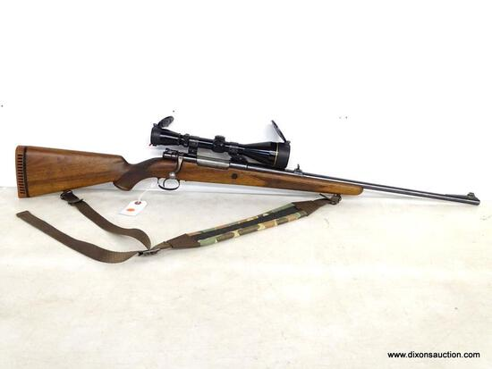BELGIUM MAUSER BOLT ACTION .30-06 CALIBER WITH DETAILED STOCK. SERIAL #27327. COMES WITH LEUPOLD 3X9