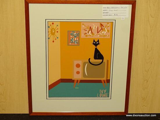 "ATOMIC MID CENTURY MODERN INTERIOR CAT ON TV GICLEE BY IVY LOWE. MEASURES 17"" X 20""."