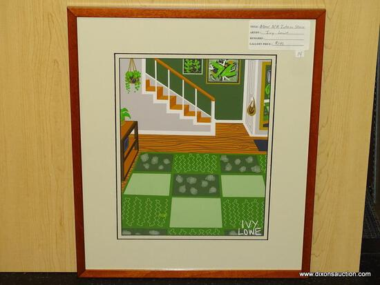 "ATOMIC MID CENTURY MODERN INTERIOR STAIRS GICLEE BY IVY LOWE. MEASURES 17"" X 20""."