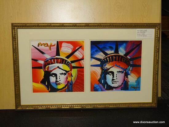 "STATUE OF LIBERTY COLLAGE GICLEE BY PETER MAX. 20 1/4"" X 33 1/2""."