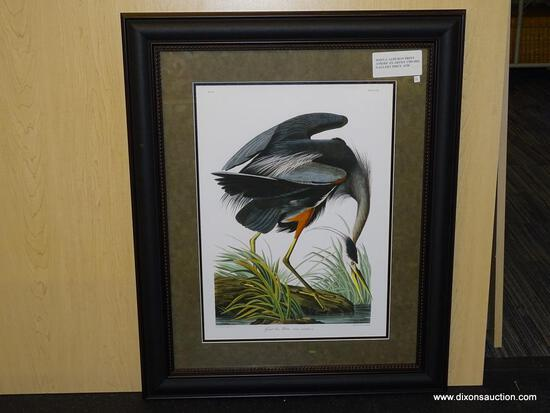 "GREAT BLUE HERON BY JOHN AUDUBON. MEASURES 27 1/4"" X 33 3/4""."