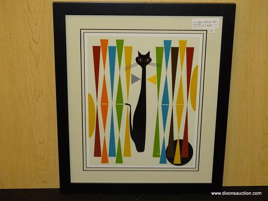 """MID CENTURY MODERN ABSTRACT CATS. MEASURES 17 1/2"""" X 20 1/2""""."""
