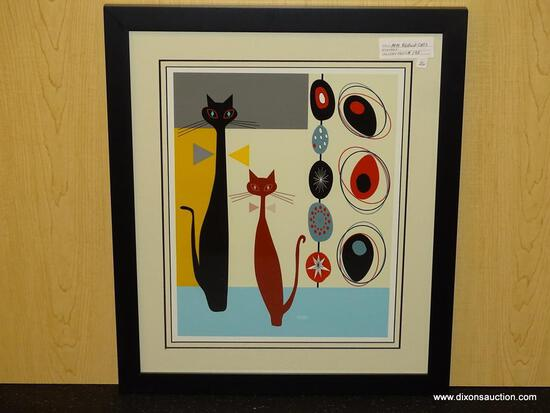 "MID CENTURY MODERN ABSTRACT CATS. MEASURES 17 1/2"" X 20 1/2""."