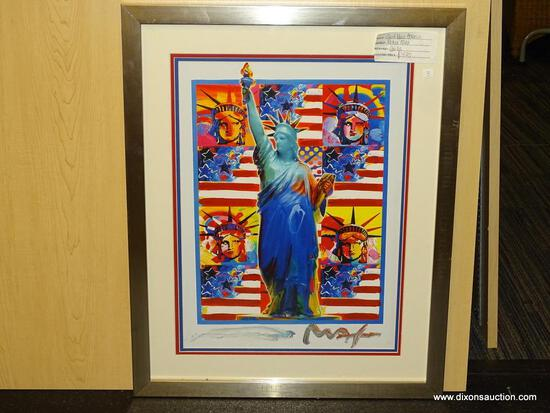 "GOD BLESS AMERICA GICLEE BY PETER MAX. MEASURES 21 3/4"" X 27""."