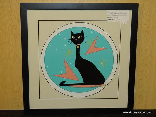 "MID CENTURY MODERN ATOMIC CAT ON BLUE PEN SIGNED BY IVY LOWE. MEASURES 21 1/4"" X 21 1/4""."