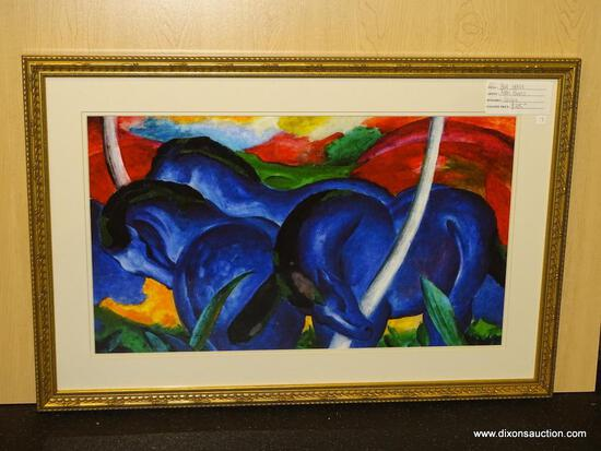 "BLUE HORSES GICLEE BY MARC FRANZ. MEASURES 33 1/4"" X 22 1/4""."