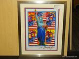GOD BLESS AMERICA GICLEE BY PETER MAX. MEASURES 21 3/4