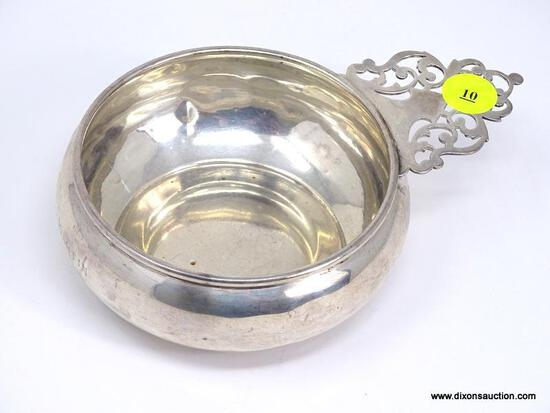 """PREISMER STERLING SILVER #179 PORRINGER BABY BOWL WITH KEYHOLE HANDLE. MEASURES APPROX. 6"""" FROM"""