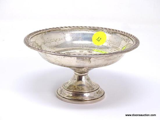 """PREISMER STERLING SILVER WEIGHTED FOOTED COMPOTE. MEASURES APPROX. 3"""" TALL BY 5-1/4"""" DIAMETER. DOES"""