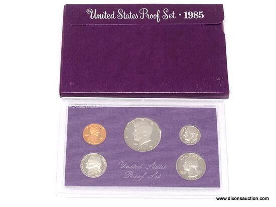 1985-S UNITED STATES PROOF SET. COINS ARE IN A HARD PLASTIC PROTECTIVE CASE, COMES IN BURGUNDY