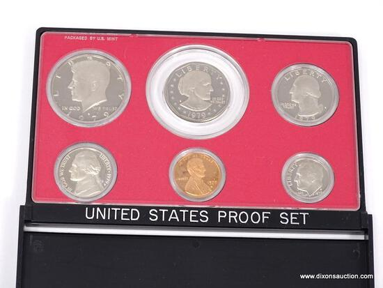 1979-S UNITED STATES PROOF SET. COINS ARE IN A HARD PLASTIC PROTECTIVE CASE WITH A BLACK DISPLAY.