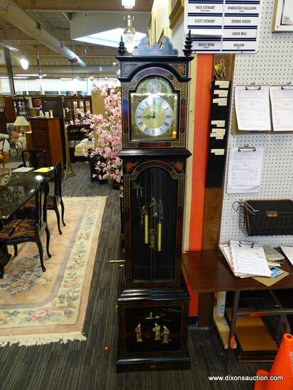 """BLACK LAQRUED GRANDFATHER CLOCK WITH HAND PAINTED SOAPSTONE FIGURES. MEASURES 81"""" TALL."""