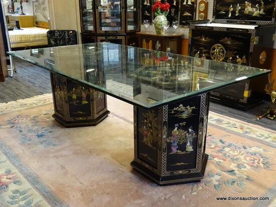 UNUSUAL BLACK LAQUER DOUBLE PEDASTOOL GLASS TOP DINING TABLE. BOTH PEDESTAL HAVE BLACK MOTHER OF