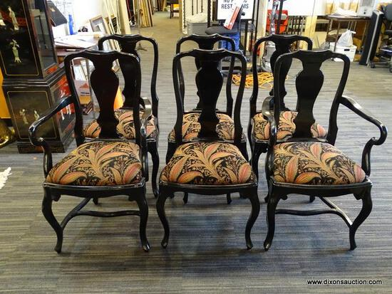 SET OF 6 QUEEN ANN BLACK LAQUER DINING CHAIRS. SET INCLUDE 2 ARM CHAIRS WITH STRETCHER BASE AND 4