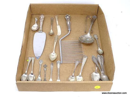 TRAY LOT OF MISC. STERLING/COIN/SILVER-PLATE FLATWARE. INCLUDES (3) EXTRA PLATE COIN SILVER