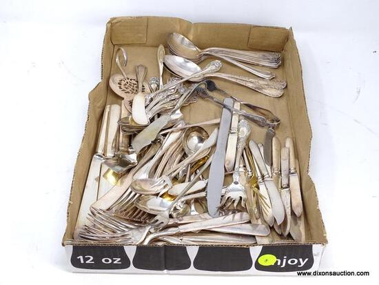 TRAY LOT OF MISC. SILVER-PLATE/ELECTROPLATE FLATWARE. INCLUDES SPOONS, DINNER KNIVES, FORKS, SERVING