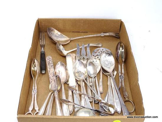 TRAY LOT OF MISC. SILVER-PLATE/ELECTROPLATE FLATWARE & SERVING PIECES. INCLUDES LARGE LADLE, SALAD