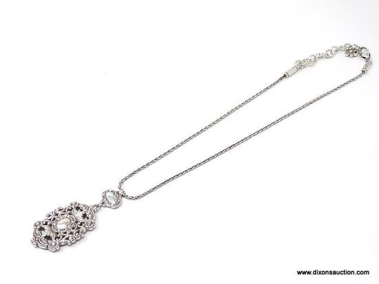 BRIGHTON EARLY PRODUCTION VICTORIAN STYLE TWO PIECE CARTOUCHE PENDANT NECKLACE. PENDANT MEASURES 2