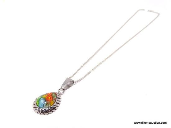 SIGNED, 316L STAINLESS STEEL MILLEFIORI TEAR DROP PENDANT NECKLACE. FEATURES COLORFUL ORANGE,
