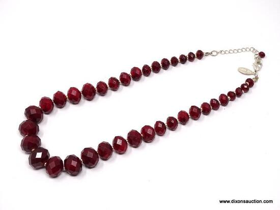 """QUALITY DESIGNER SIGNED, """"WHITE HOUSE BLACK MARKET"""" FACETED CRANBERRY RED GRADUATED BEAD NECKLACE."""