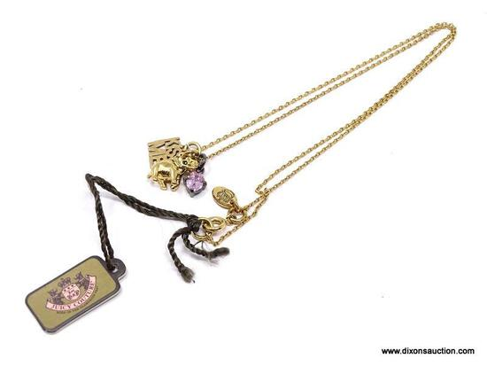 """NEW, WITH TAGS - FUN JUICY COUTURE """"KISS ME FOR GOOD LUCK"""" CHARM NECKLACE. FEATURES GOOD LUCK"""