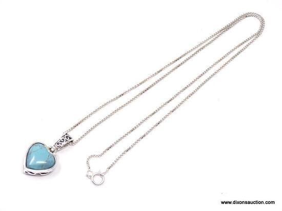 """QUALITY STERLING SILVER SWINGING HEART PENDANT AND BAIL ON 18"""" STERLING SILVER BOX CHAIN. PENDANT IS"""