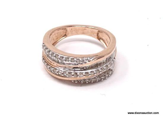 24K ROSE GOLD OVER STERLING SILVER GENUINE DIAMOND RING. THIS BEAUTIFUL YET SUBTLE STATEMENT RING IS