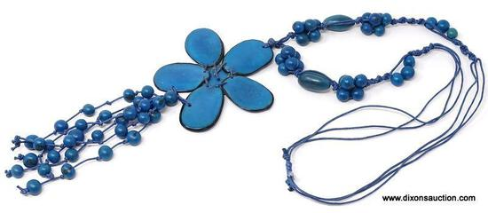 FABULOUS ARTISAN CRAFTED AND SIGNED TURQUOISE TAGUA NUT NECKLACE. TAGUA NUTS ARE HARVESTED FROM THE