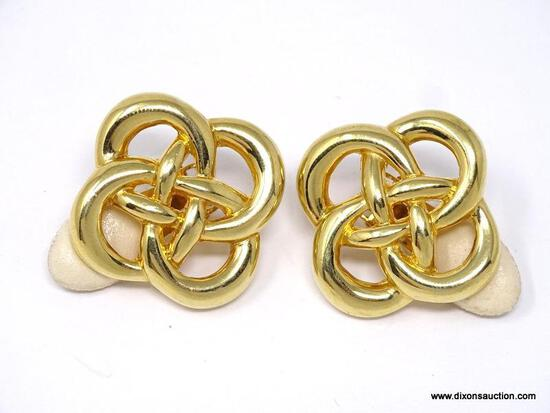 VINTAGE, DESIGNER SIGNED LES BERNARD 1980'S GOLD TONE CELTIC KNOT CLIP-ON EARRINGS. THROUGHOUT 1936