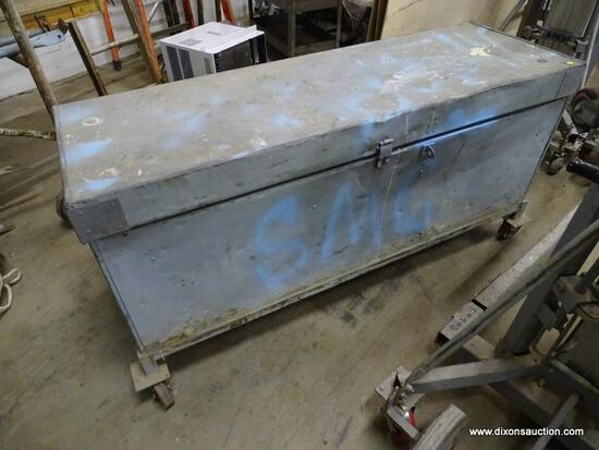 HEAVY DUTY ROLLING JOB BOX AND CONTENTS. BOX CONTAINS ASSORTED LARGE BOLTS. BOX IS HEAVILY USED AND