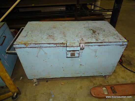 """HEAVY DUTY ROLLING JOB BOX. HAS LOCK ON FRONT. HEAVY USED AND SOME RUST AND DENTS. MEASURES 49"""" X"""
