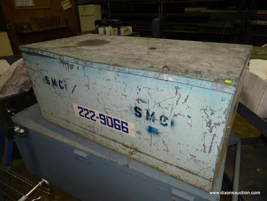 """HEAVY DUTY METAL JOB BOX. HAS RUST, DENTING, AND HEAVILY USED. MEASURES 48"""" X 24"""" X 20.5""""."""