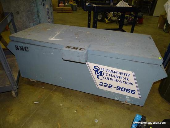 """HEAVY DUTY METAL ROLLING JOB BOX. HAS RUST, DENTING, AND HEAVILY USED. MEASURES 60"""" X 26"""" X 26""""."""