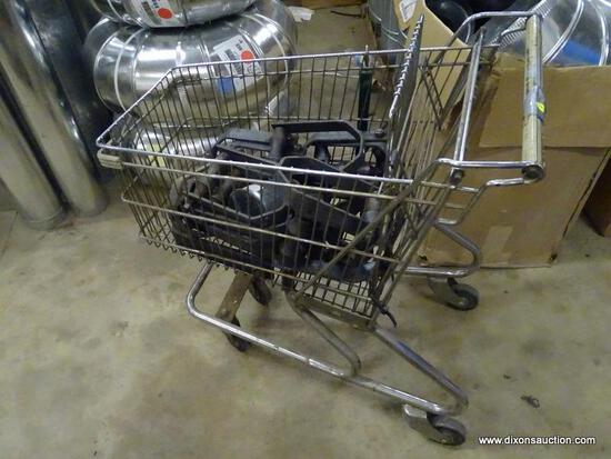 VINTAGE METAL SHOPPING CART FILLED WITH B-LINE U SHAPED CLAMPS/HANGERS.