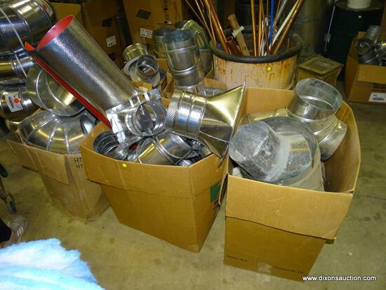 (7) BOX LOT OF VARIOUS METAL DUCTWORK PARTS.