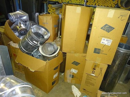 LARGE LOT OF ASSORTED DUCT WORK PIECES AND ROLLED METAL TUBING. DOES INCLUDE SOME CALCIUM SILICATE