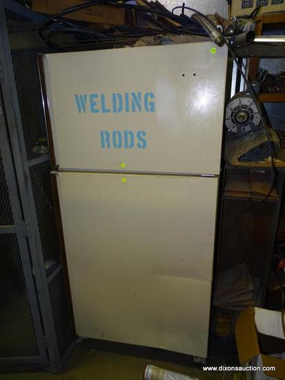 VINTAGE REFRIGERATOR USED TO HOLD WELDING ROD. UNTESTED.