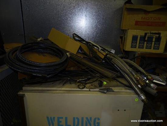 LOT ON TOP OF FRIDGE. INCLUDES HOSES, WIRING AND WELDING RODS.