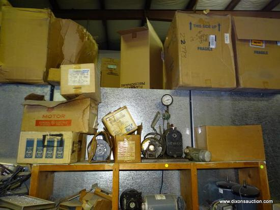 LOT ON TOP OF SHELF TO INCLUDE: AGE MOTOR, A DAYTON BELTED FAN MOTOR, A NEVCO NELSON VACUUM PUMP,