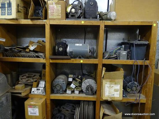 (2) SHELF LOT TO INCLUDE: ASSORTED MOTORS AND PARTS. UNSURE OF WORKING CONDITION.