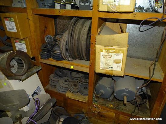 (2) SHELF LOT TO INCLUDE: ASSORTED MOTORS AND BELT WHEELS. UNSURE OF WORKING CONDITION.