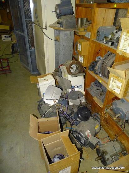 FLOOR LOT TO INCLUDE: ASSORTED MOTORS, FANS, AND PARTS. UNSURE OF WORKING CONDITION.