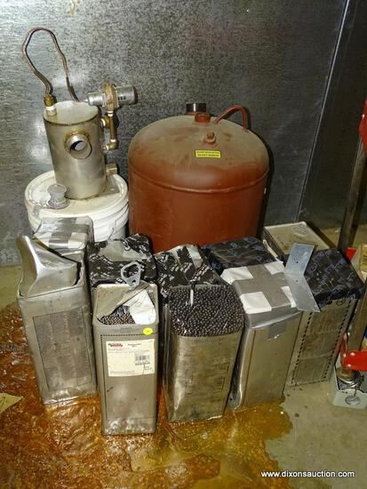 FLOOR LOT OF ASSORTED ITEMS TO INCLUDE: (10) BOXES OF WELDING RODS AND A LARGE WATER EXPANSION TANK.