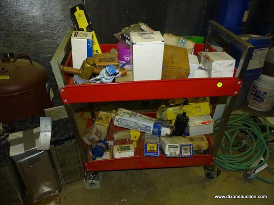 METAL UTILITY CART AND CONTENTS. INCLUDES: FILTERS, PARTS, A THREE PHASE VOLTAGE METER, ETC.CART