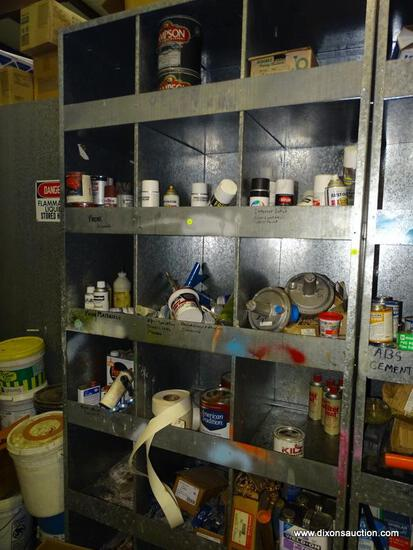 CONTENTS OF SHELVING UNIT TO INCLUDE: SPRAY PAINT, PRIMER, JOINT TAPE, BUTTERFLIES, EXTRA LARGE