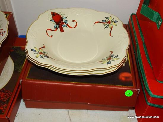(LR) LENOX SERVING PIECES;; 4 LENOX AMERICAN BY DESIGN WINTER GREETINGS 11 IN. SERVING BOWLS- 2 NEW